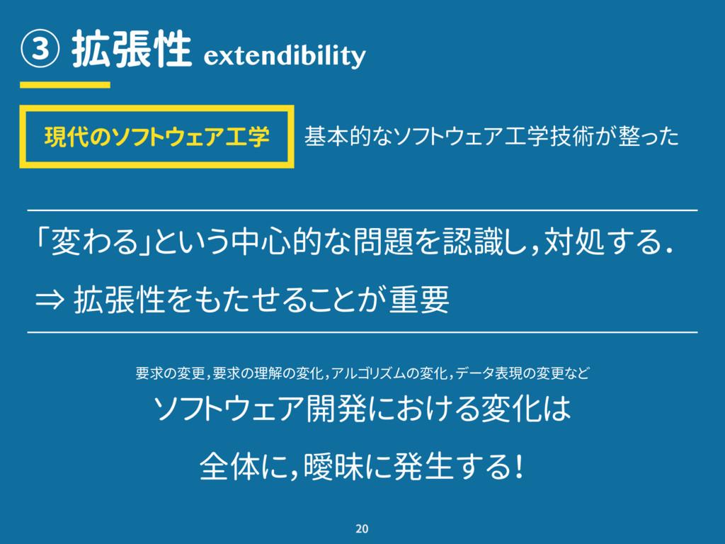 ③ 拡張性 20 extendibility 「変わる」という中心的な問題を認識し,対処する....