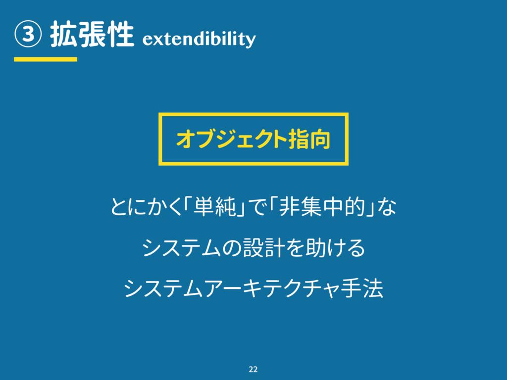 ③ 拡張性 22 extendibility とにかく「単純」で「非集中的」な システムの設計...