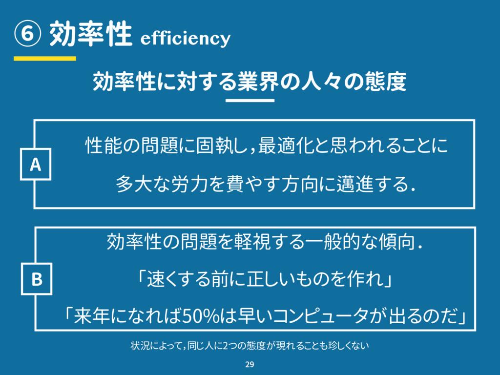 ⑥ 効率性 29 efficiency 効率性に対する業界の人々の態度 性能の問題に固執し,最...
