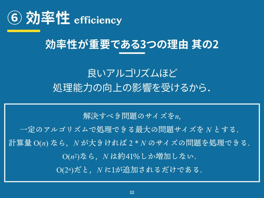 ⑥ 効率性 32 efficiency 効率性が重要である3つの理由 其の2 良いアルゴリズム...