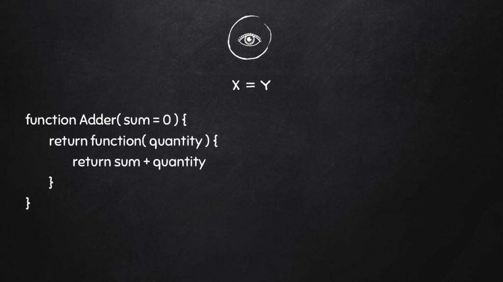 x = y function Adder( sum = 0 ) { return functi...