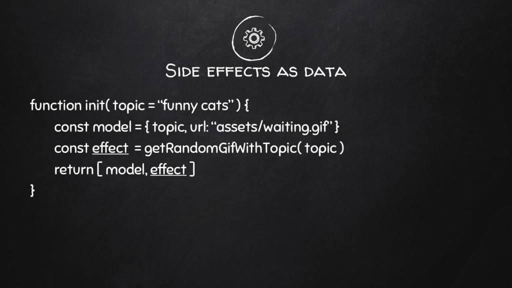 "Side effects as data function init( topic = ""fu..."