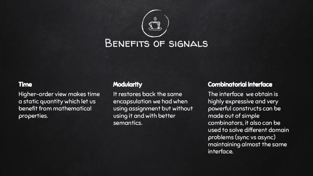Benefits of signals Time Higher-order view make...