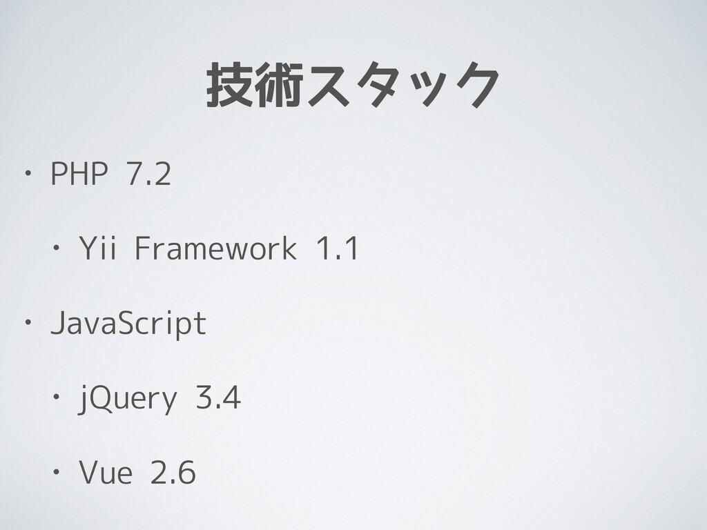 技術スタック • PHP 7.2 • Yii Framework 1.1 • JavaScri...