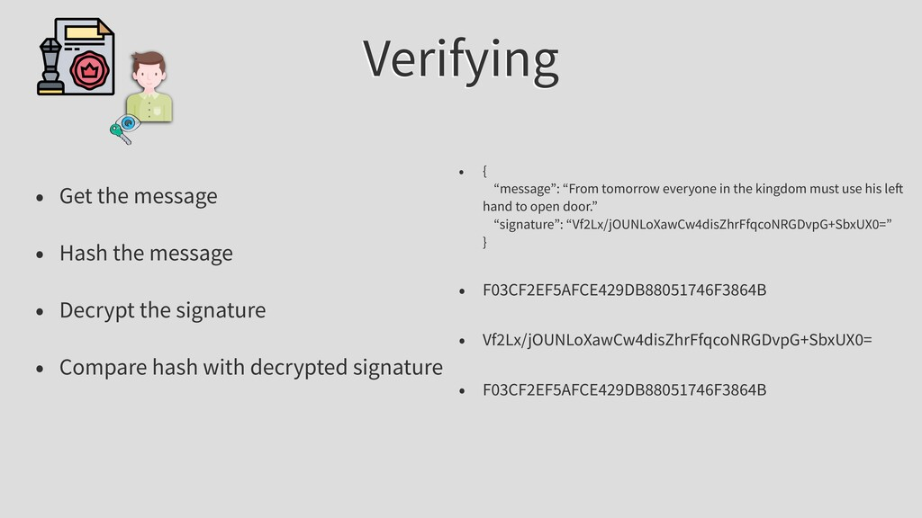 Verifying • Get the message • Hash the message ...