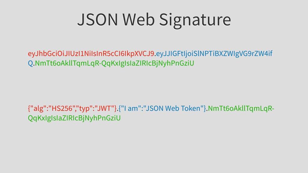 JSON Web Signature eyJhbGciOiJIUzI1NiIsInR5cCI6...