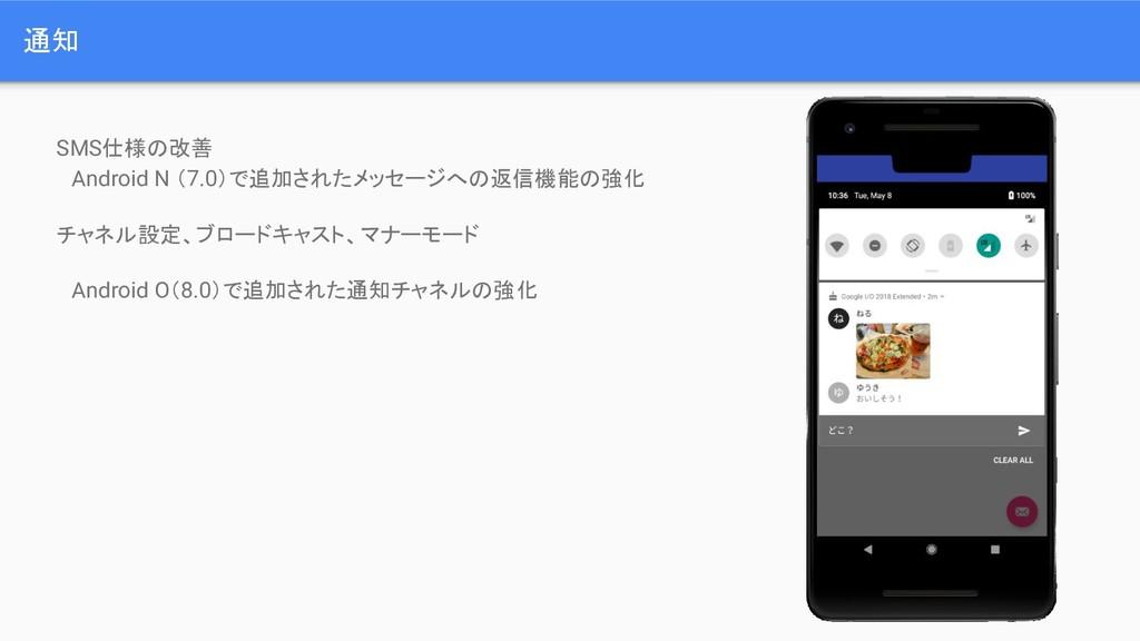 通知 SMS仕様の改善  Android N (7.0)で追加されたメッセージへの返信機能の強...