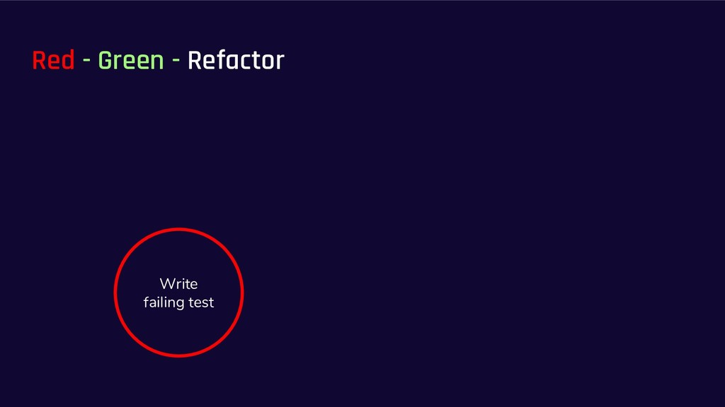 Red - Green - Refactor Write failing test