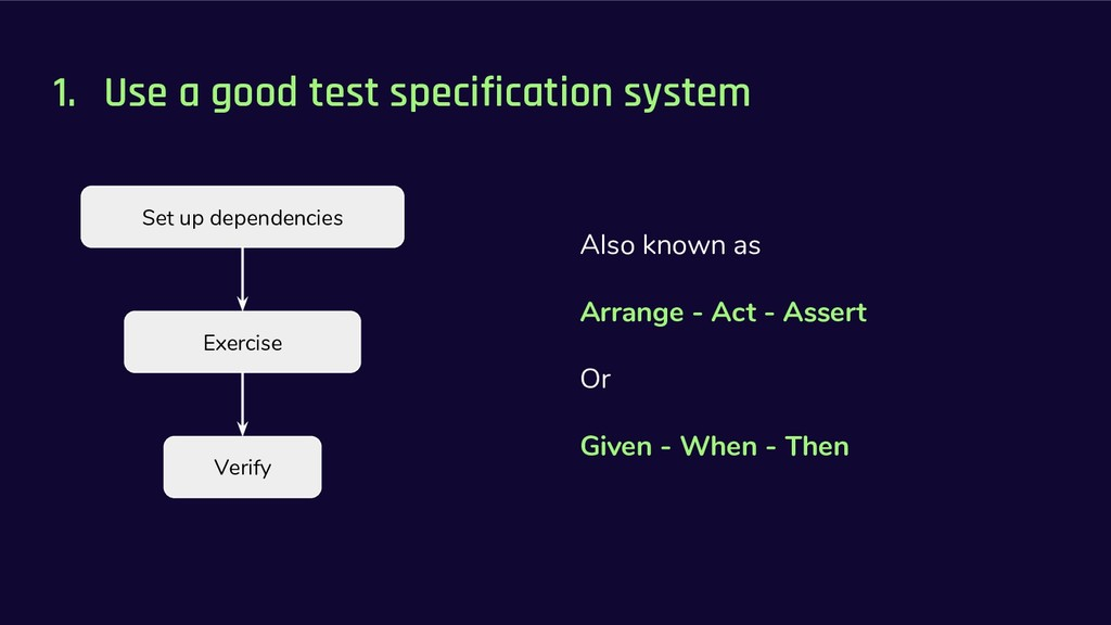 1. Use a good test specification system Also kn...