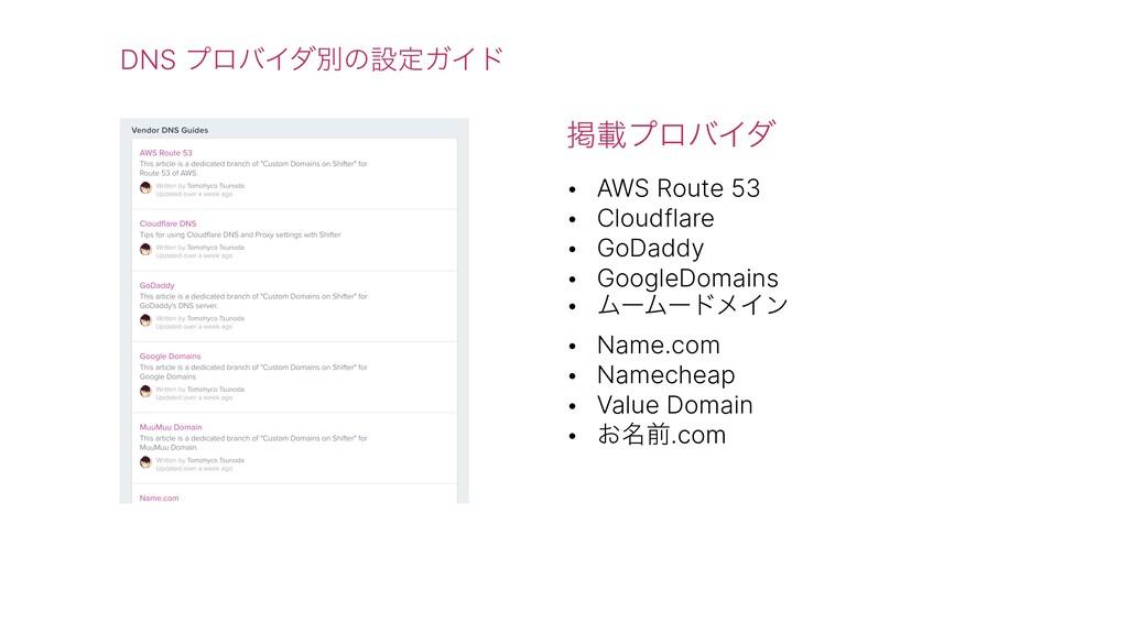 DNS ϓϩόΠμผͷઃఆΨΠυ ܝࡌϓϩόΠμ • AWS Route 53 • Cloud...