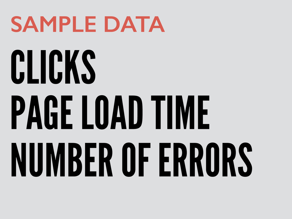 CLICKS SAMPLE DATA PAGE LOAD TIME NUMBER OF ERR...