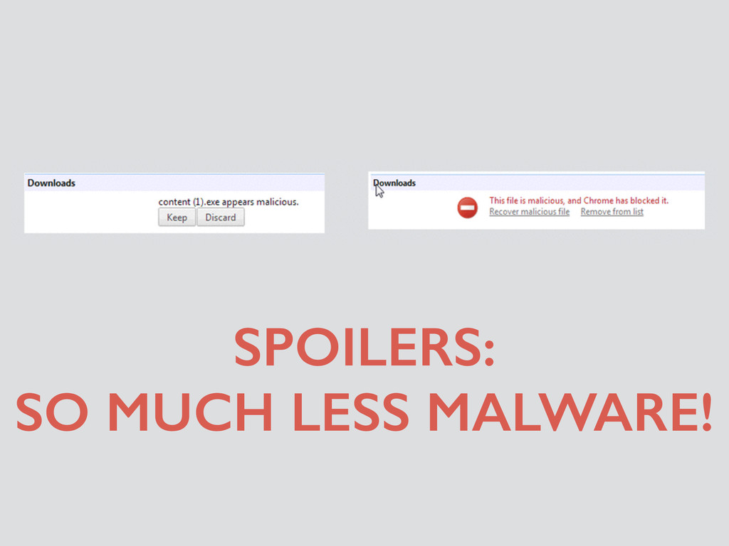 SPOILERS: SO MUCH LESS MALWARE!