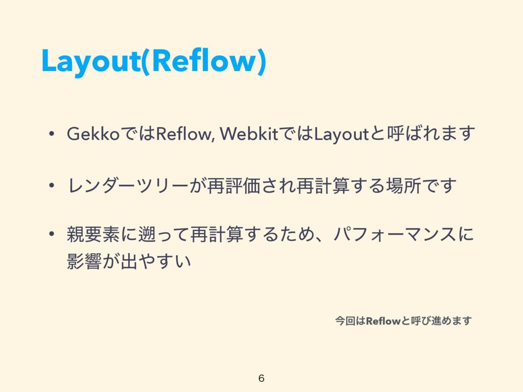 Layout(Reflow) • GekkoͰReflow, WebkitͰLayoutͱݺ...