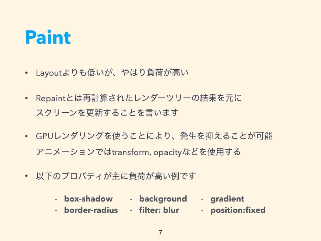 Paint • LayoutΑΓ͍͕ɺΓෛՙ͕ߴ͍ • Repaintͱ࠶ܭ͞Εͨ...
