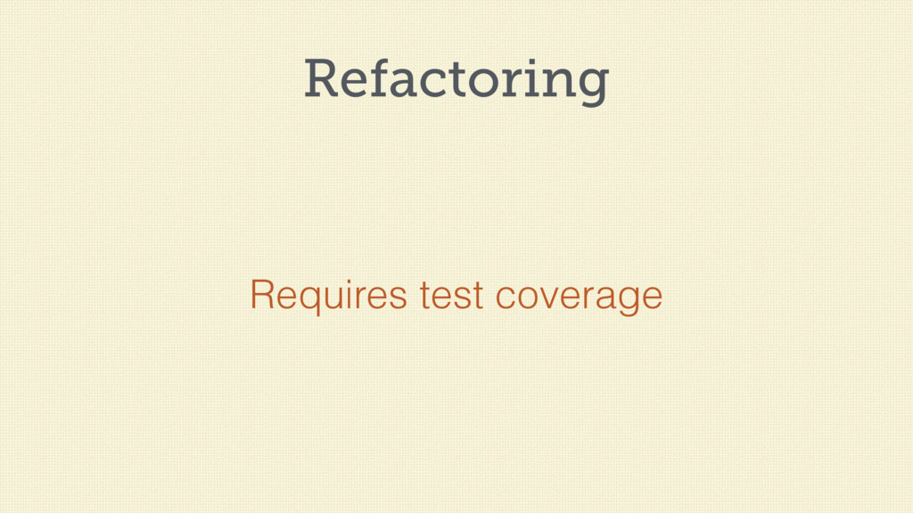 Refactoring Requires test coverage