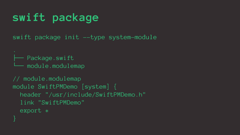 swift package swift package init --type system-...