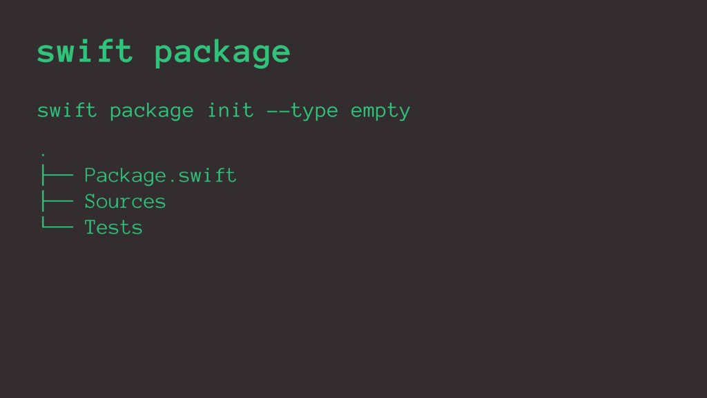 swift package swift package init --type empty ....
