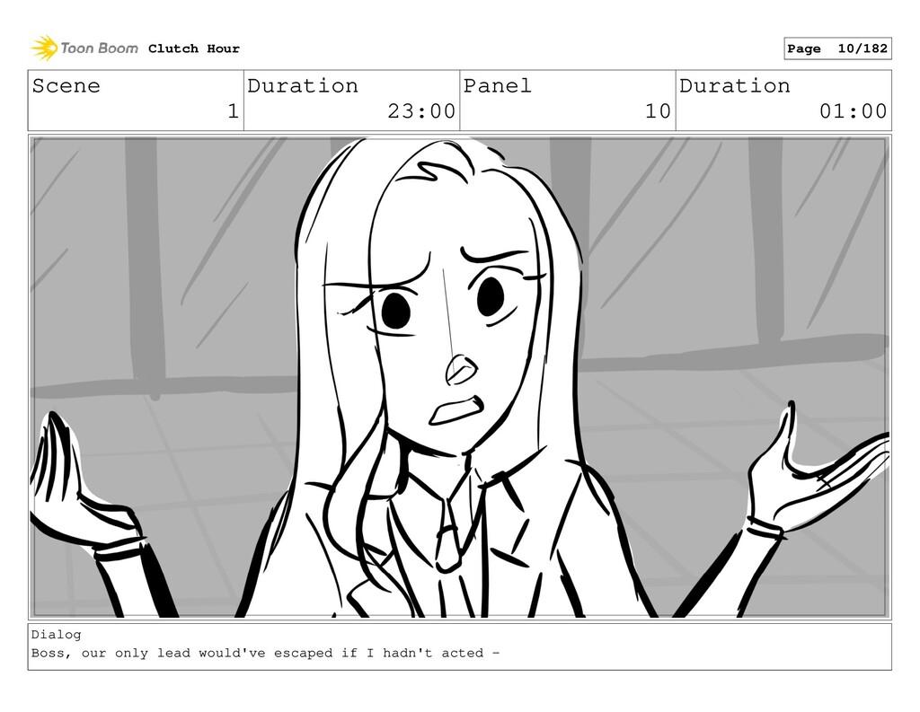 Scene 1 Duration 23:00 Panel 10 Duration 01:00 ...