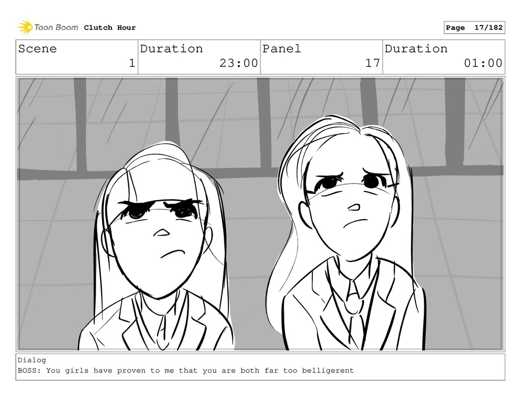 Scene 1 Duration 23:00 Panel 17 Duration 01:00 ...