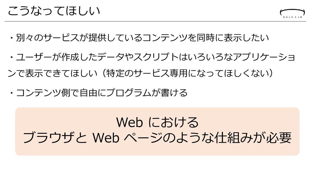 こうなってほしい ・別々のサービスが提供しているコンテンツを同時に表示したい ・ユーザーが作成...