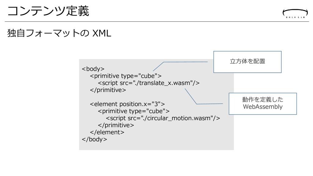 """コンテンツ定義 独自フォーマットの XML <body> <primitive type=""""c..."""