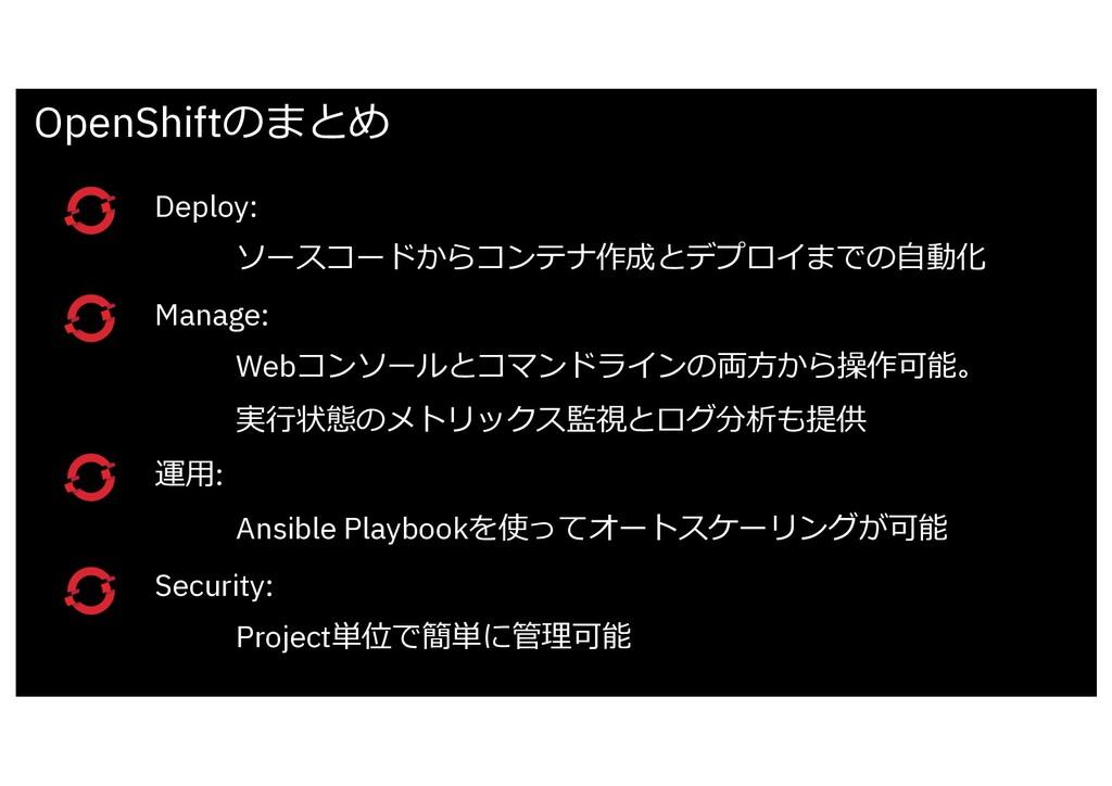 Deploy: ソースコードからコンテナ作成とデプロイまでの⾃動化 Manage: Webコン...