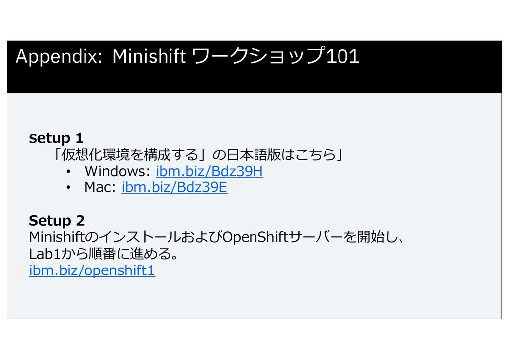 Setup 1 「仮想化環境を構成する」の⽇本語版はこちら」 • Windows: ibm.b...