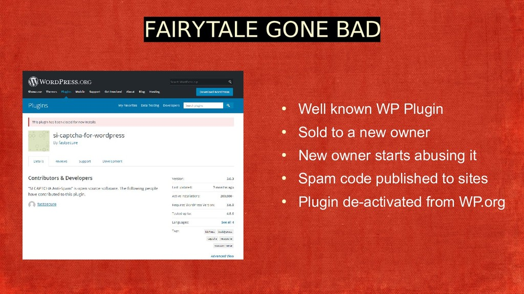 FAIRYTALE GONE BAD ● Well known WP Plugin ● Sol...