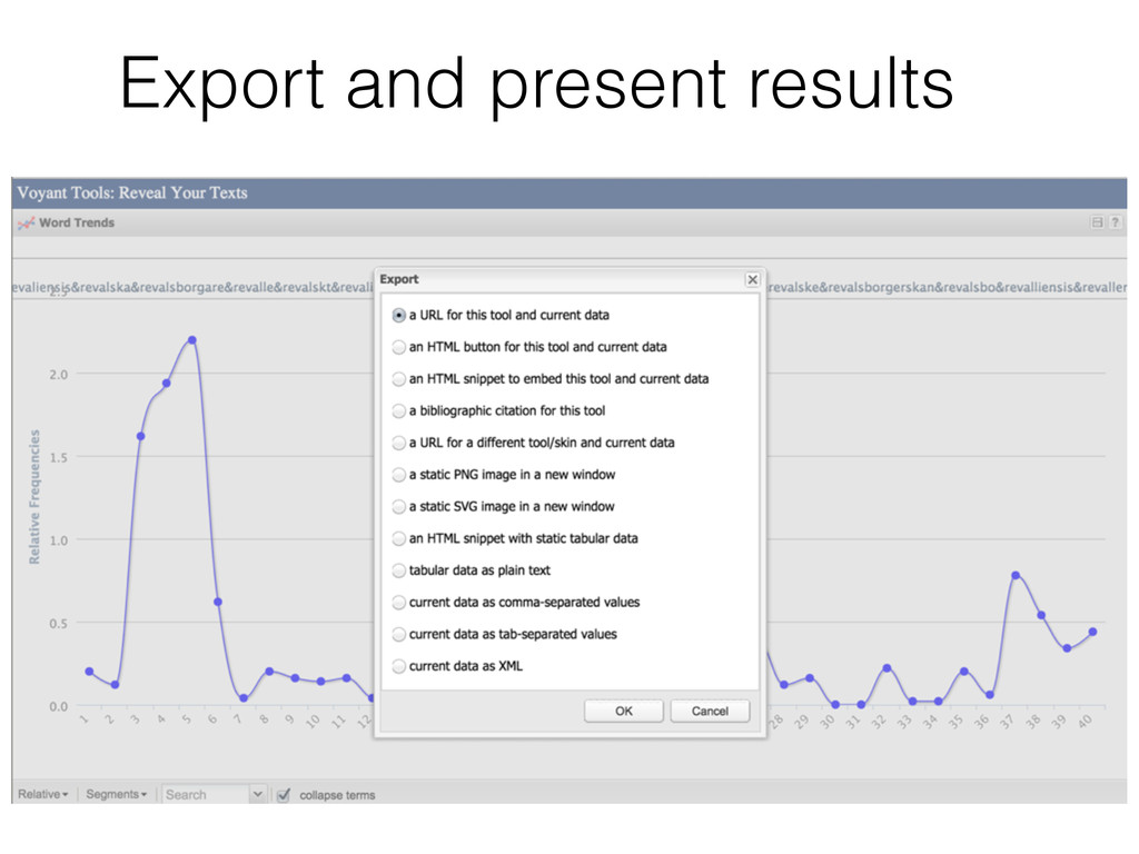 Export and present results