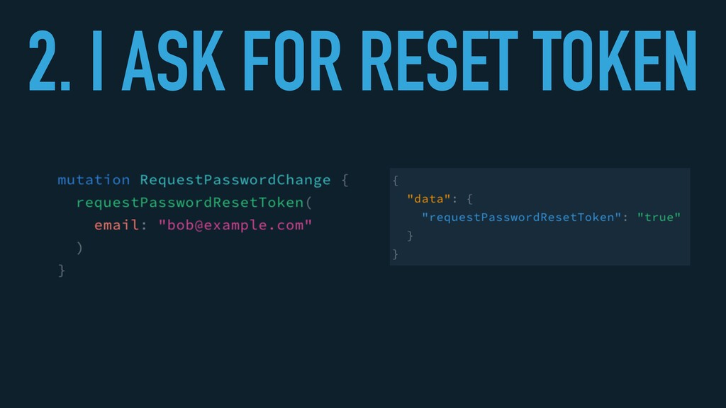 2. I ASK FOR RESET TOKEN