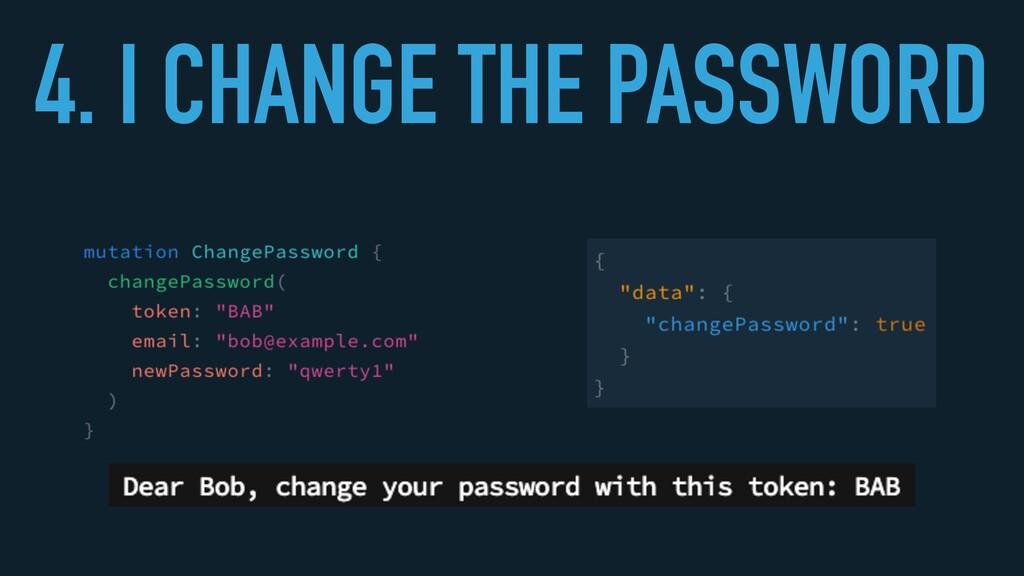 4. I CHANGE THE PASSWORD