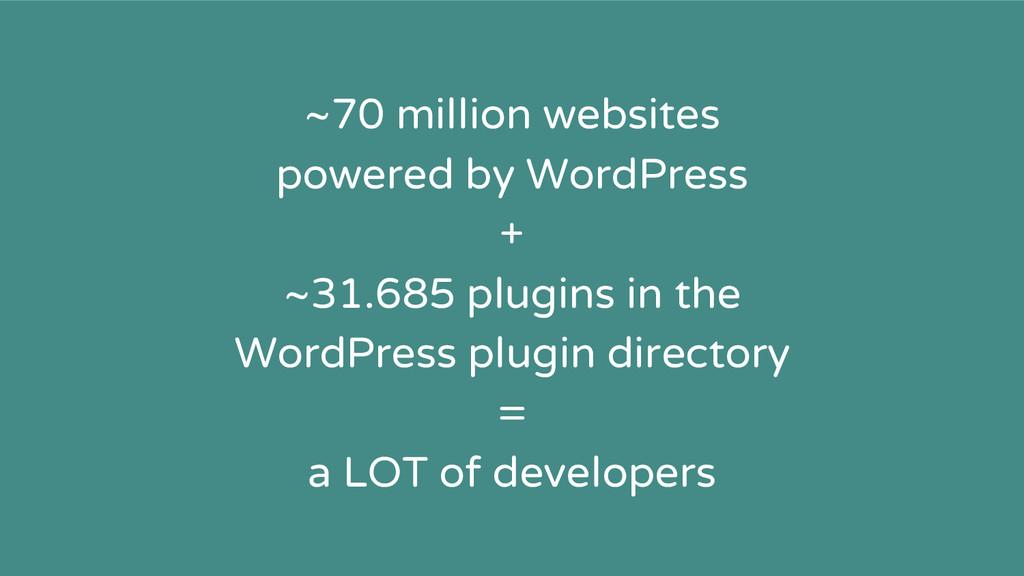 ~70 million websites powered by WordPress + ~31...