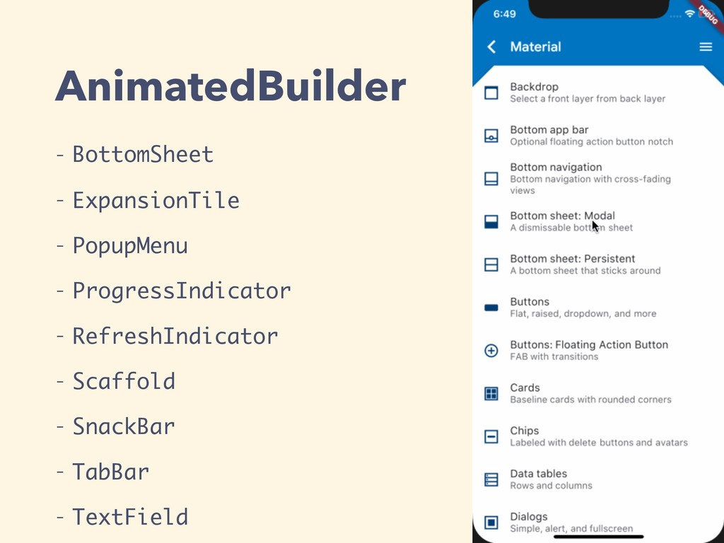 AnimatedBuilder - BottomSheet - ExpansionTile -...