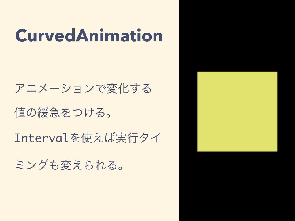 CurvedAnimation ΞχϝʔγϣϯͰมԽ͢Δ ͷ؇ٸΛ͚ͭΔɻ Interval...