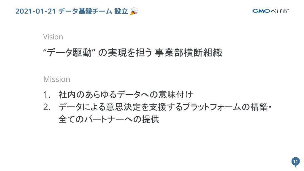 """11 11 2021-01-21 データ基盤チーム 設立 🎉 Vision """"データ駆動"""" の..."""