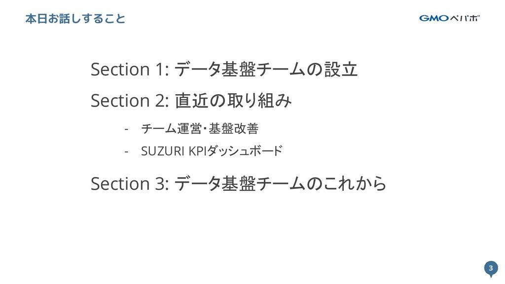 3 3 本日お話しすること Section 1: データ基盤チームの設立 Section 2:...