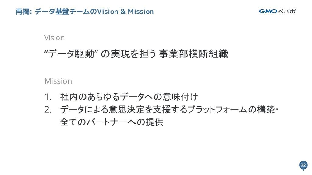"""32 32 再掲: データ基盤チームのVision & Mission Vision """"データ..."""