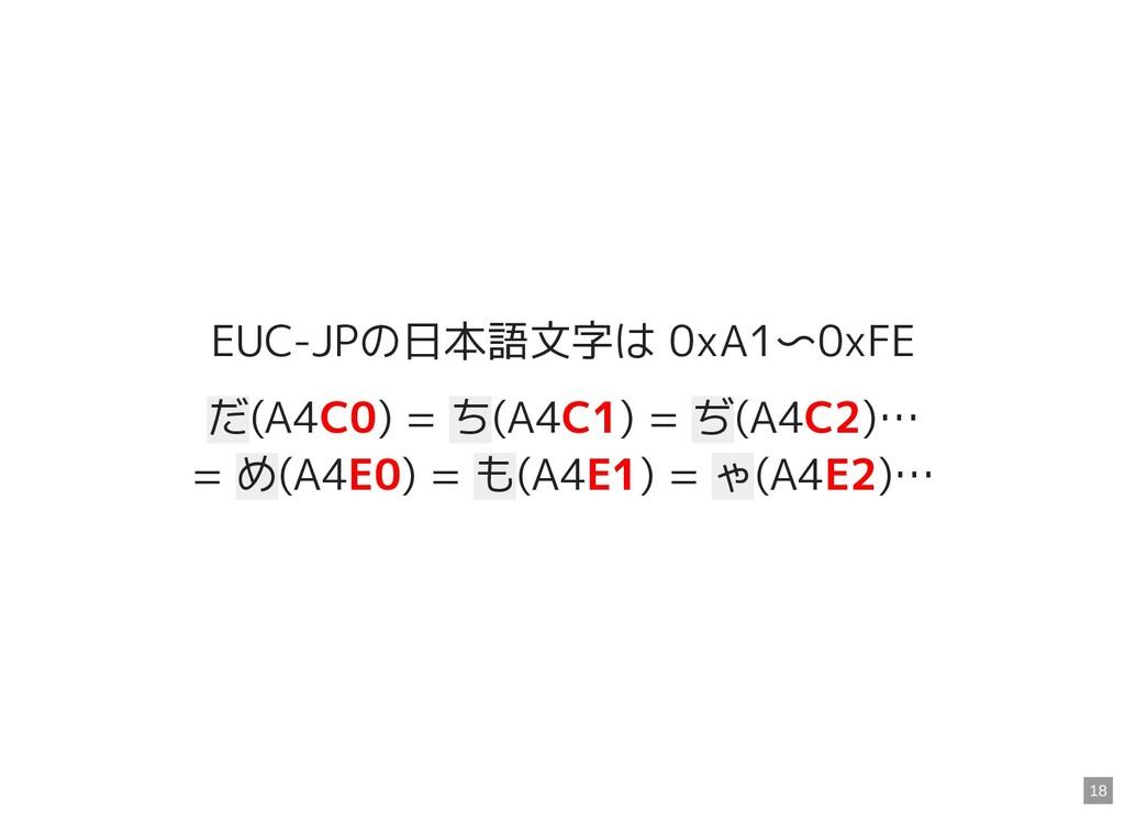 EUC-JPの日本語文字は 0xA1〜0xFE だ(A4C0) = ち(A4C1) = ぢ(A...