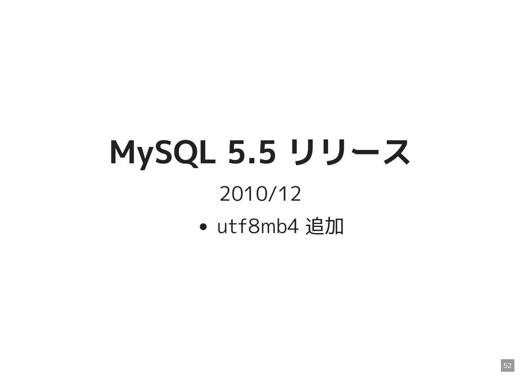 MySQL 5.5 リリース MySQL 5.5 リリース 2010/12 utf8mb4 追...