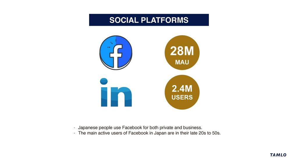 SOCIAL PLATFORMS 28M MAU - Japanese people use ...
