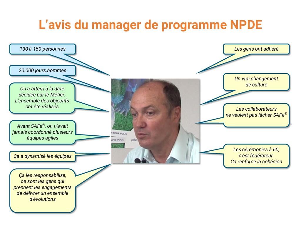 L'avis du manager de programme NPDE 130 à 150 p...