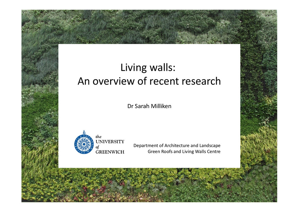 Living walls: An overview of recent research De...