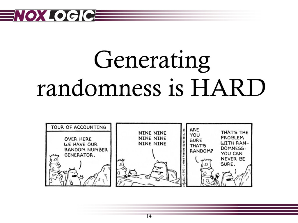 Generating randomness is HARD 14