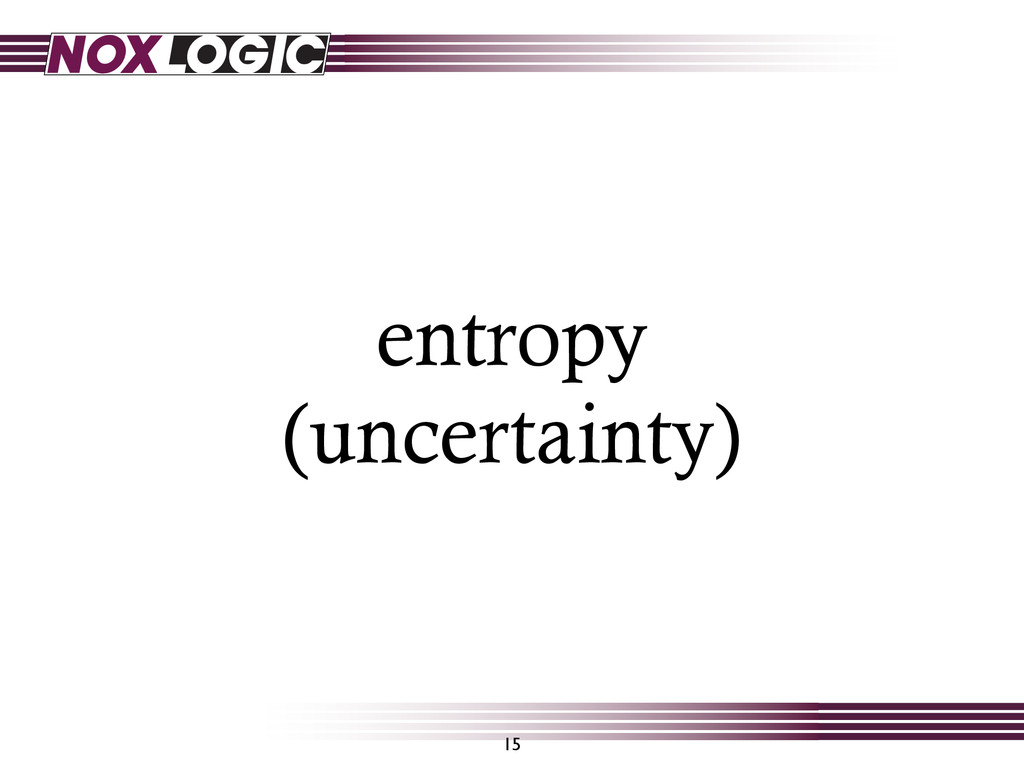 entropy (uncertainty) 15