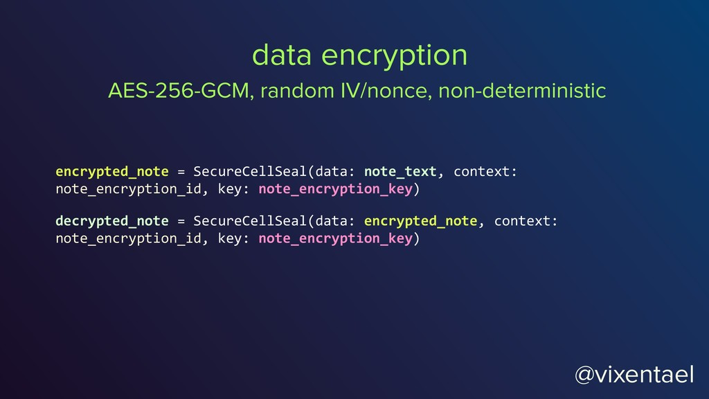 @vixentael data encryption encrypted_note = Sec...