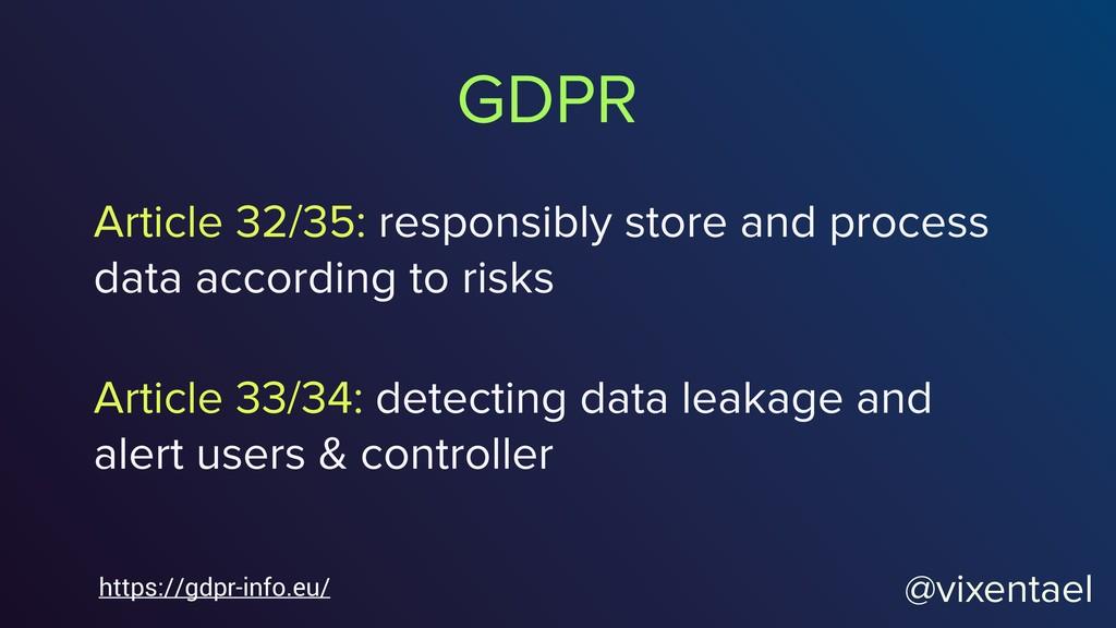 GDPR @vixentael Article 32/35: responsibly stor...