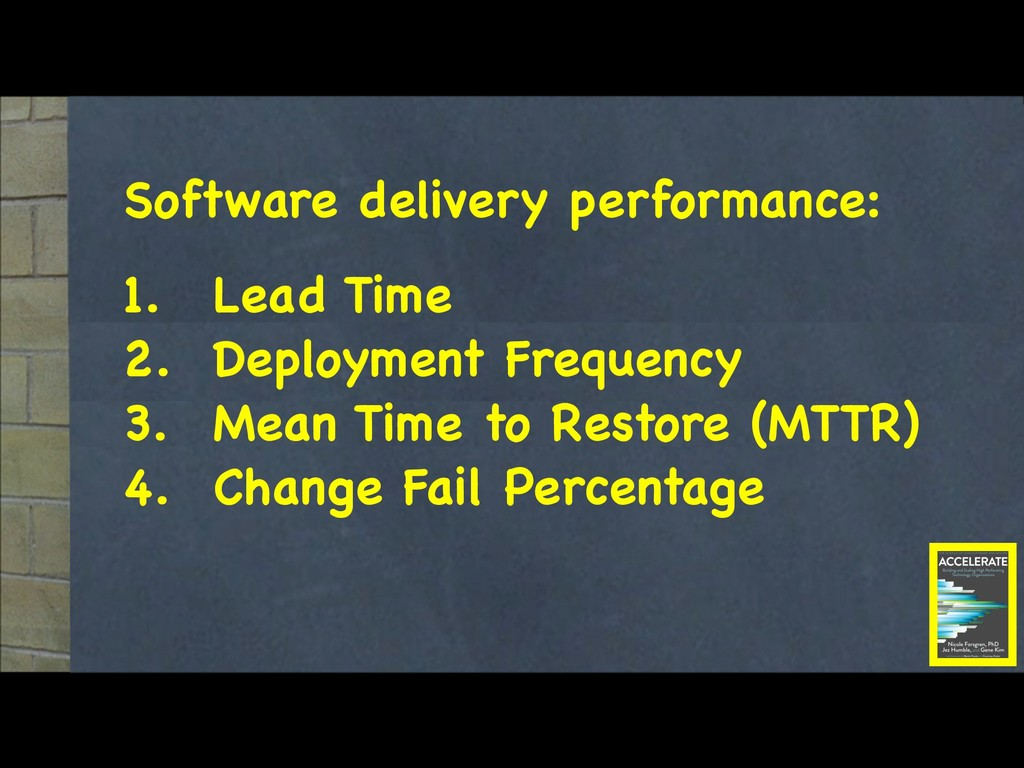 Software delivery performance:  1. Lead Time  2...