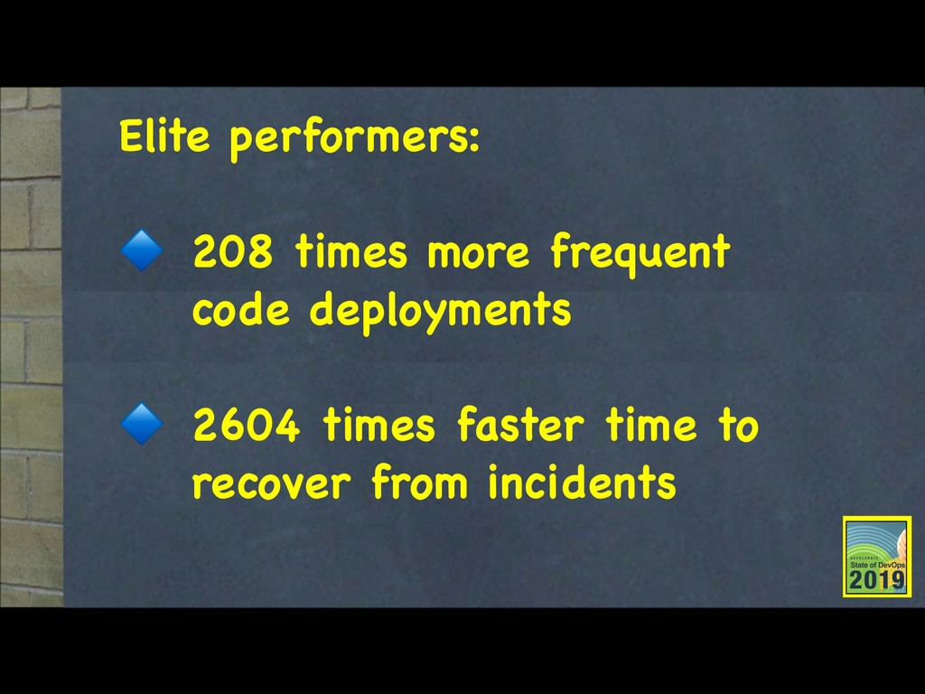 Elite performers:  208 times more frequent code...