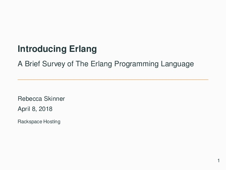 Introducing Erlang A Brief Survey of The Erlang...
