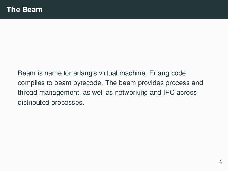 The Beam Beam is name for erlang's virtual mach...